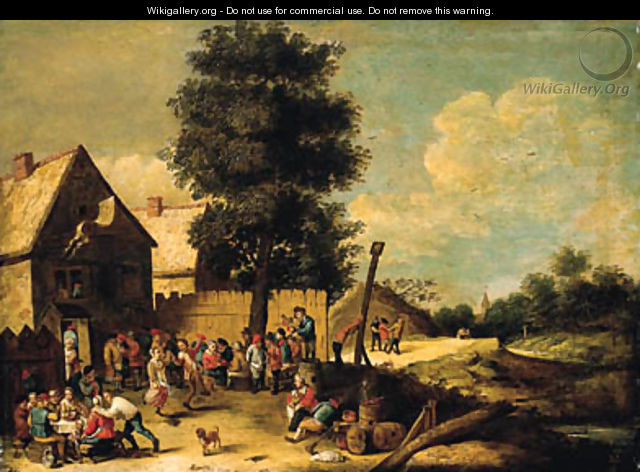 A peasant couple dancing to the music of a bagpiper, standing on a barrel, with other peasants merrymaking, ouside an inn - (after) David The Younger Teniers