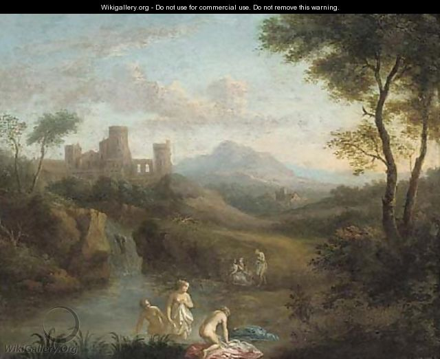 An Italianate landscape with nymphs bathing at a pool - (after) Dirck Van Der B Lisse