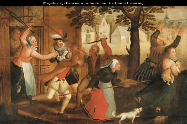 An innkeeper and his wife driving out a family - (after) David Vinckboons