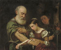 A young girl binding the wound of an old man - (after) Bernhard Keil
