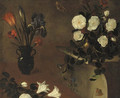 An iris, a tulip and carnations in a vase with roses in a copper bowl on a pedestal nearby - a fragment - (after) Picart, Bernard