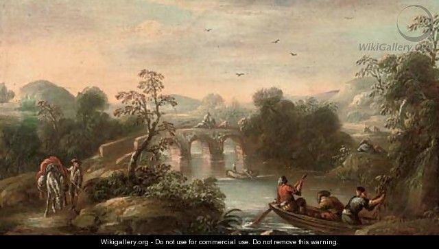 An Italianate wooded river landscape with fishermen in a boat and figures on a bridge beyond - (after) Carlo Bonavia
