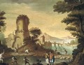 An Italianate landscape with fishermen before a town - (after) Carlo Bonavia