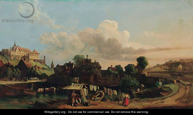A town in a river valley - (after) Carl Joseph Kuwasseg