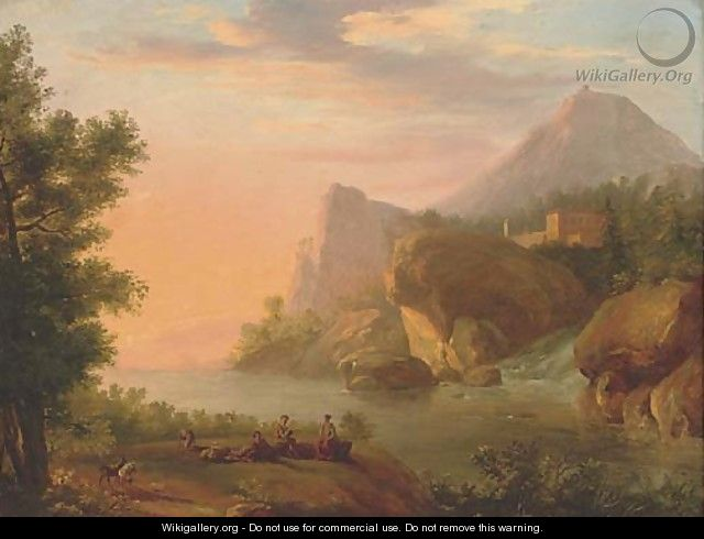A Rhenish river landscape with shepherds playing music near a waterfall - (after) Christian Georg II Schutz Or Schuz