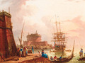 A Mediterranean harbour with merchants and fisherfolk on a quay, a man-o-war moored beyond - (after) Charles Francois Lacroix De Marseille