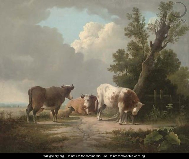 Cattle and a sheep in an extensive landscape - (after) Charles Towne