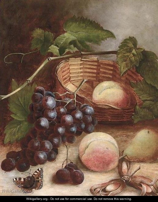 Grapes, peaches, a pear and cobb nuts with a basket on a table - (after) Charles Thomas Bale