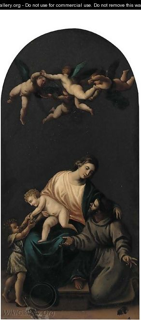 The Holy Family with the Infant Saint John the Baptist, angels above - (after) Alessandro Turchi (Orbetto