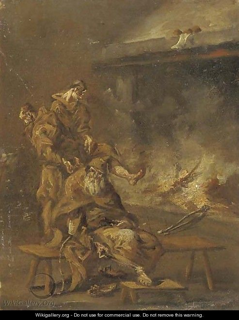 Capuchin friars by a fire - (after) Alessandro Magnasco