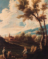 A wooded river landscape with an angler and washerwomen - (after) Alessandro Magnasco