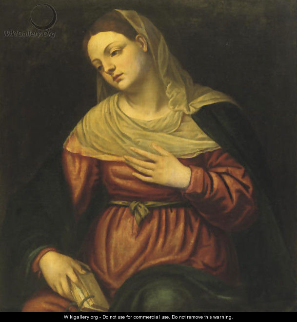 The Virgin contemplating with a book in her hand - (after) Alessandro Bonvicino (Moretto Da Brescia)