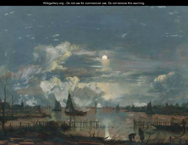 A moonlit riverlandscape, with shipping and fishermen on the shore inspecting their nets and lobsterpots - (after) Aert Van Der Neer