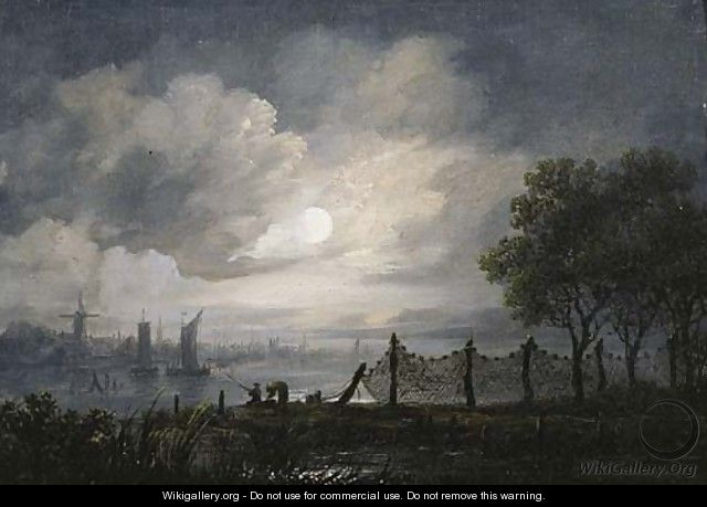 A moonlit river landscape with anglers - (after) Aert Van Der Neer
