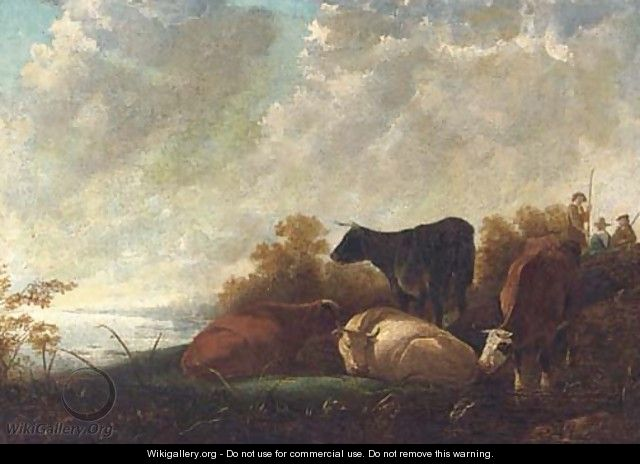 Cattle at rest by a river, drovers beyond - (after) Aelbert Cuyp