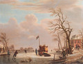 Skaters and other townsfolk on a frozen river by a country mansion - (after) Andries Vermeulen