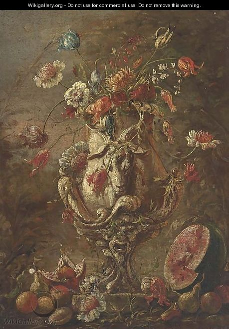 Tulips, narcissi and other flowers in a suclpted urn - (after) Andrea Belvedere
