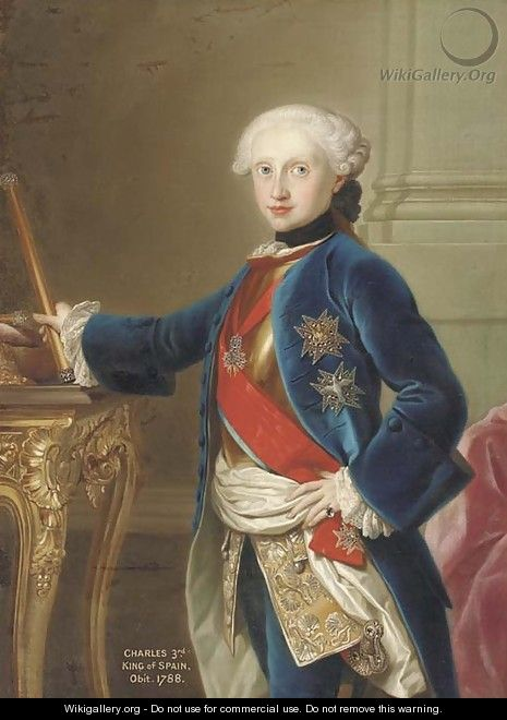 Portrait of King Charles III of Spain (1716-88), three-quarter-length, in a blue velvet coat, with the Order of the Golden Fleece, standing by a table - (after) Mengs, Anton Raphael