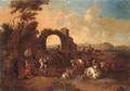 An Italianate landscape with drovers and cattle and peasants dancing - (after) Anthonie Goubau