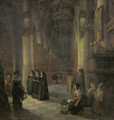 Elegant women and other townsfolk in the aisle of a Gothic church at night - (after) Anthonie De Lorme