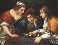 Peasants playing draughts in an interior - (after) Angelo Caroselli