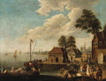 Figures on a Quayside in a River Estuary - Dutch School