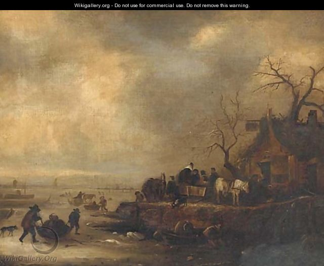 Figures on a frozen lake, with an inn on the bank - Dutch School