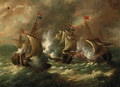 A naval engagement - Dutch School
