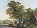 A landscape with cows in a farmyard and two travellers resting by the side of a road - Dutch School