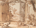 A dog barking at a swan with cygnets, in a pond, figures by a park gate looking on - Dutch School