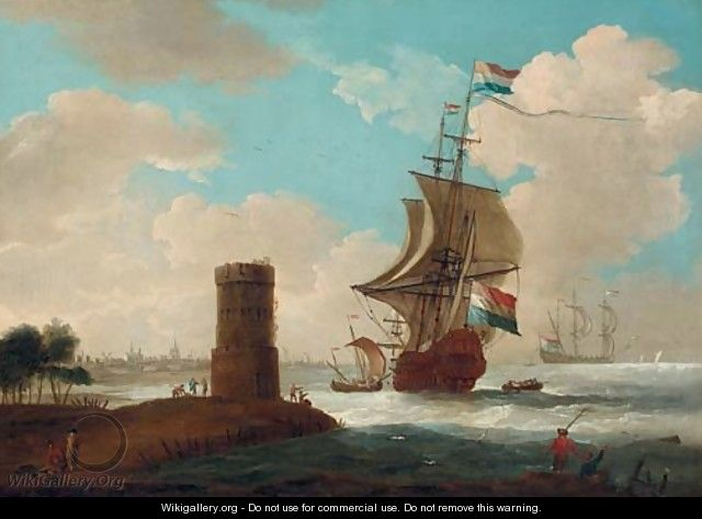 A coastal landscape with a tower and Dutch warships, a town beyond 2 - Dutch School