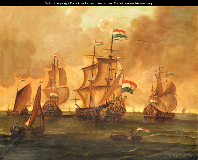 Dutch Men-of-War and other Ships in Calm Seas - Dutch School