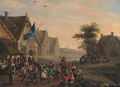 A village festival by a tavern - Dutch School