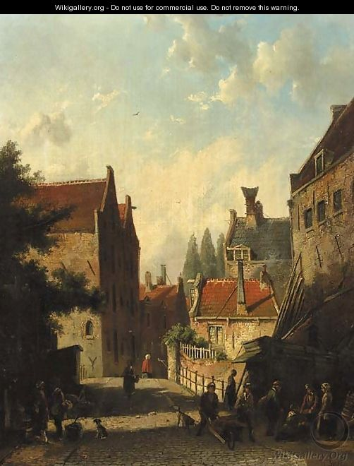 A view in a city with townsfolk conversing in the street - Dutch School
