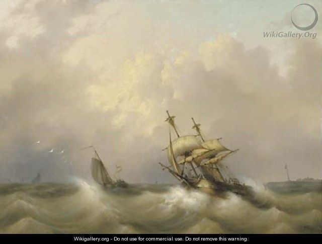 A two-master on choppy water - Dutch School