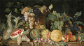 Melons, plums, pomegranates, figs, grapes, cardoon and other fruit by a sculpted urn on a stone ledge - Dutch School