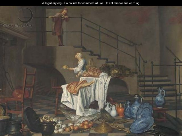 A kitchen maid and a servant in an interior - Dutch School