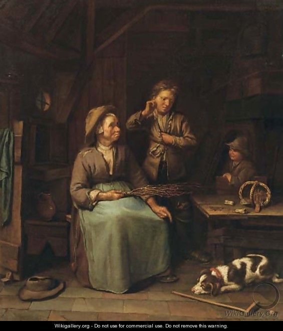 A peasant woman with two boys in an interior - Dutch School