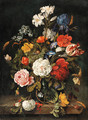 Roses, lilies, a parrot tulip, an iris and other flowers in a glass vase - Dutch School