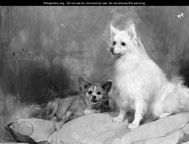 A keeshond and a corgi on pillows - Dutch School