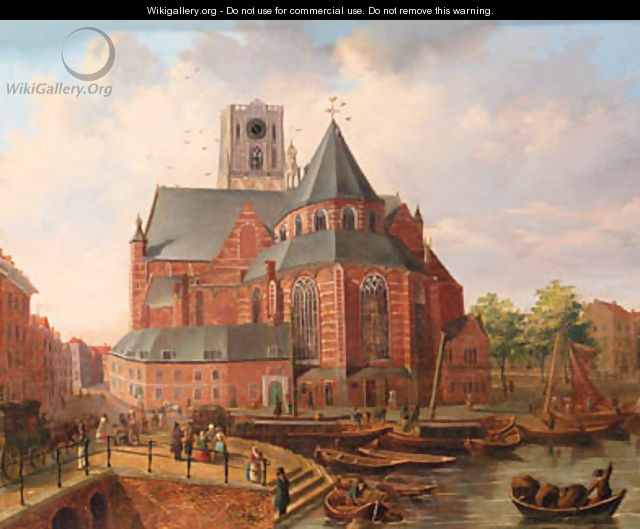 A view of Rotterdam with townsfolk gathered on a quay by a church - Dutch School