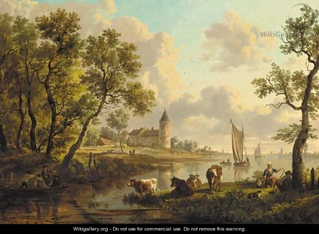 A river landscape with a herdsman and a herdswoman resting by their cattle, boats sailing and a castle beyond - Dutch School