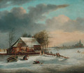 A winter landscape with figures skating on a frozen lake - Dutch School
