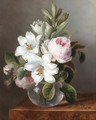 Roses and Lilies in a glass Vase - Dutch School