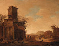Peasants and Goats by Ruins in an Italianate Landscape - Dirck Verhaert