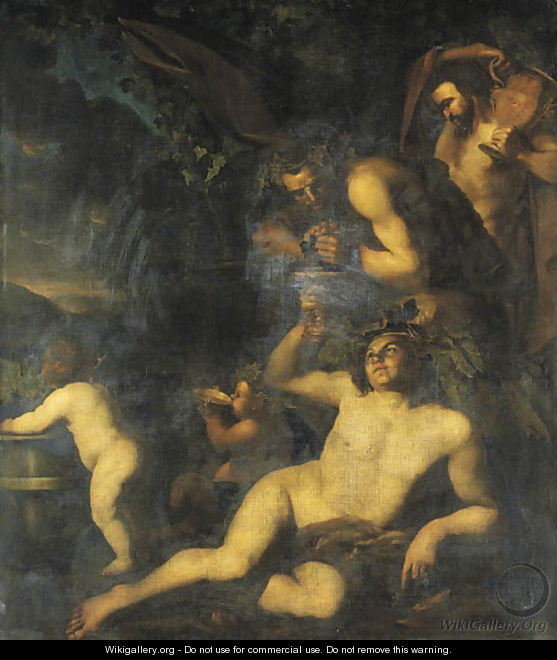Bacchus drinking in the company of two satyrs and two putti - Dirck Van Voorst