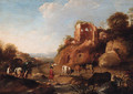 An Italianate landscape with drovers by a stream, classical ruins on a hill beyond - Dirck van der B Lisse
