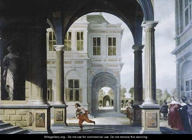 The forecourt of a Renaissance palace with a herald running to the stairs - Dirck Van Delen