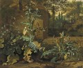 Frogs, butterflies and snails amid undergrowth near a wall, an Italianate garden beyond - Dirck Maas