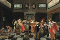 Elegant company making music and carousing in an interior - Dirck Hals